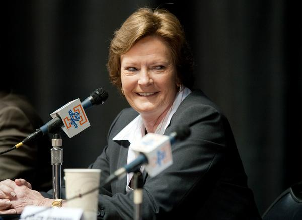 Tennessee Lady Volunteers head coach Pat Summitt speaks during the press conference announcing that she will step down as women's basketball head coach.