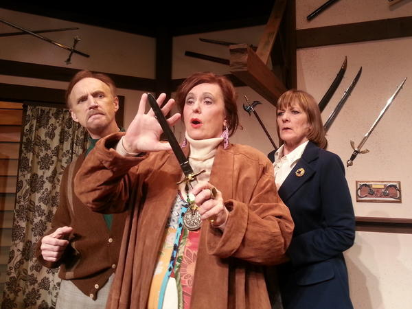 "(Left to Right) Kevin Reilley, Paula Sackett and Janet Weakley in ""Deathtrap"" at Stage Door Theatre in Coral Springs."