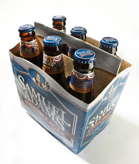 A six-pack of Samuel Adams Boston lager in its current bottled form
