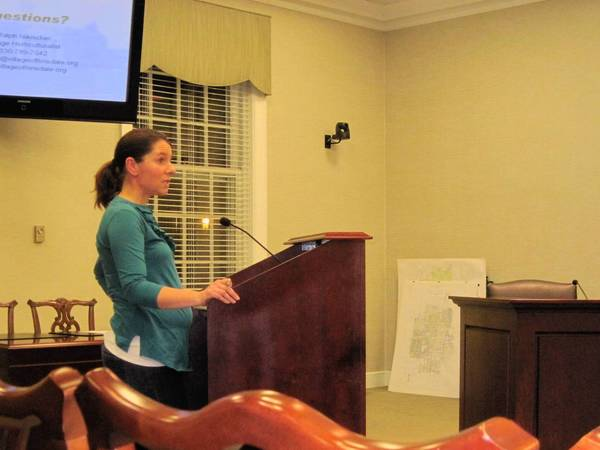 Hinsdale resident Julie Greve discusses pesticide use in the village.