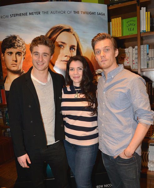 CORAL GABLES, FL - (L-R) Max Irons and Jake Abel attend the The Host book signing with author Stephenie Meyer at Books & Books in Coral Gables on Feb. 19.  (Photo by Gustavo Caballero/Getty Images for Allied-THA)