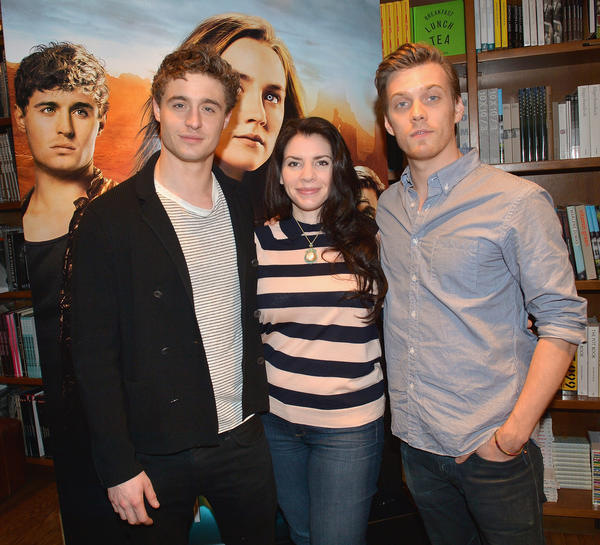 CORAL GABLES, FL - FEBRUARY 19:  (L-R) Max Irons, Stephenie Meyer and Jake Abel attend the The Host PA Tour - Day 2 at  Books & Books on February 19, 2013 in Coral Gables, Florida.  (Photo by Gustavo Caballero/Getty Images for Allied-THA)