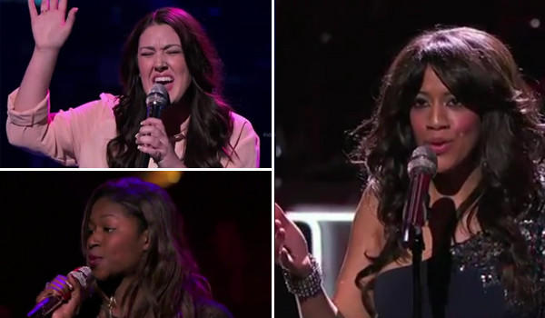 Idol contestants, clockwise, Kree Harrison, Amber Holcomb and Tenna Torres.