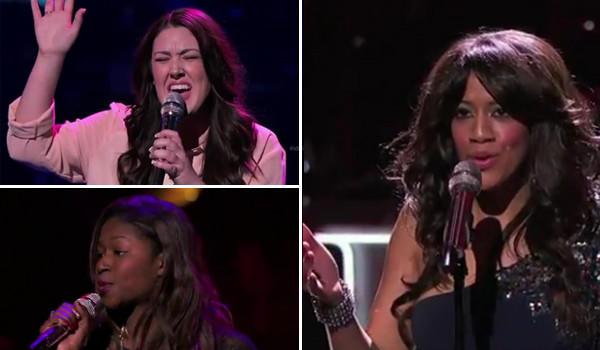 Idol contestants, clockwise, Kree Harrison, Amber Holcomb and Tenna Torres.