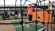 RAW VIDEO Michael Phelps takes some swings at Orioles camp
