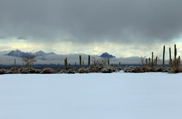 Snow covers the driving range as play was suspended during the first round of the World Golf Championships - Accenture Match Play at the Golf Club at Dove Mountain in Marana, Ariz.