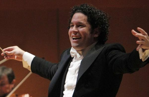 The Los Angeles Philharmonic's Gustavo Dudamel in action.