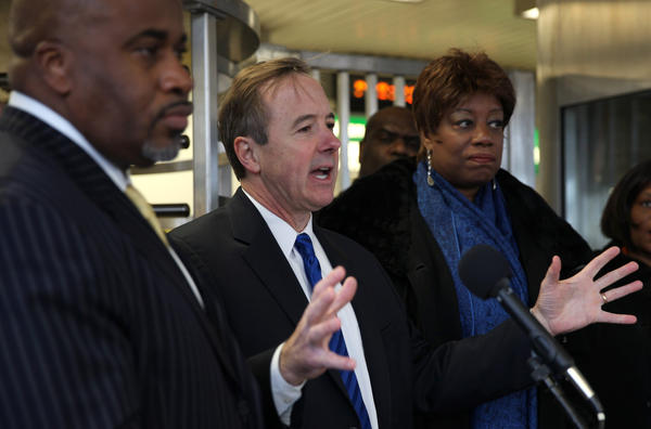 CTA President Forrest Claypool announces the rebuilding of the Red line from Cermak to 95th St. starting in May, during a news conference at the 55th Green line station Feb. 21.