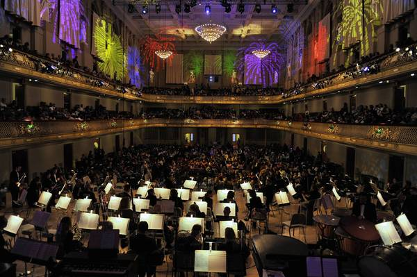 The Boston Pops at Sympho0ny Hall in Boston. The pops will perform Feb. 24 at the Ferguson Center for the Arts