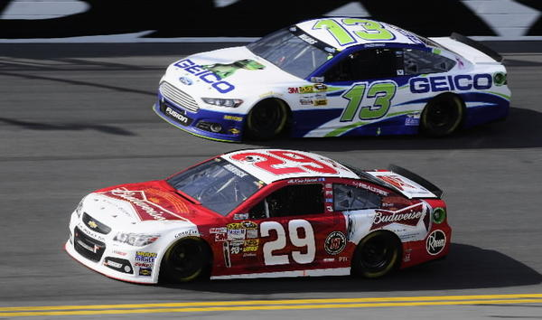 ASCAR Sprint Cup Series driver Kevin Harvick (29) leads Casey Mears (13) during the Budweiser Duel race one at Daytona International Speedway. Mandatory Credit: Sam Sharpe-USA TODAY Sports