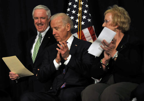Bridgeport Mayor Bill Finch spoke before Vice President Joe Biden gave his keynote speech at a conference at WCSU Thursday to discuss the federal response to gun violence prevention in the wake of Newtown. Next to Biden is Newtown First Selectwoman Patricia Llodra who introduced Biden.