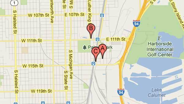 Locations of three recent robberies near Metra Electric line stations.