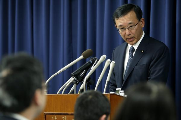 Japanese Justice Minister Sadakazu Tanigaki speaks during a news conference Thursday at the Justice Ministry in Tokyo.