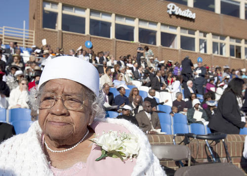 Florence Washington, 97, of Newport News attends Hampton University graduation ceremony to watch President Obama speak on Sunday. She voted for the first time in 2008 because she wanted President Barack Obama to become president.