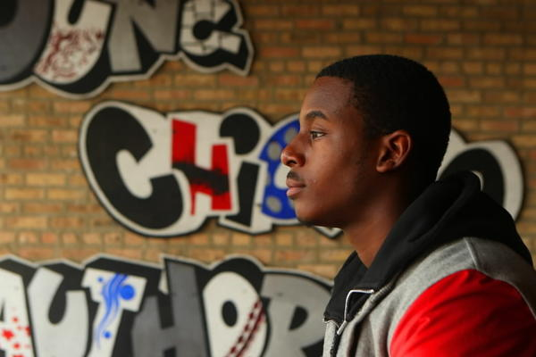Young poet Malcolm London at the Young Chicago Authors offices on North Milwaukee Ave. in Chicago.