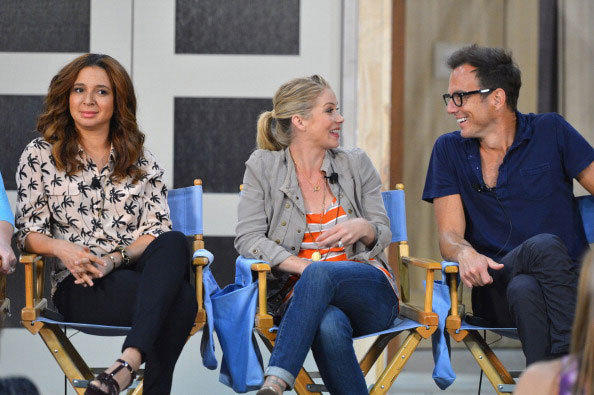 Actress Maya Rudolph, actress Christina Applegate and actor Will Arnett attend NBCUniversal's 'Up All Night' TCA set visit at CBS Studios - Radford on July 31, 2012 in Studio City, California.