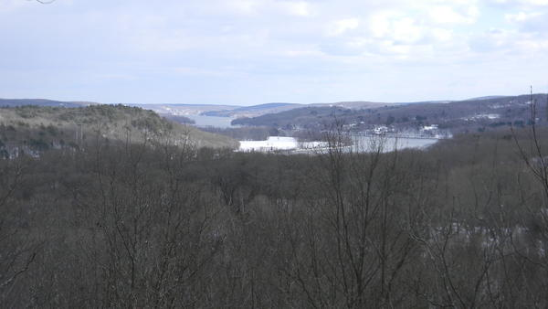 The view of the Connecticut River from the top of Hubbard Brook Preserve as it snakes past the hills of East Hampton, East Haddam and Haddam.
