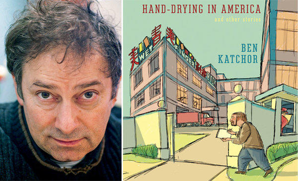"Author Ben Katchor and the cover of ""Hand-Drying in America."""