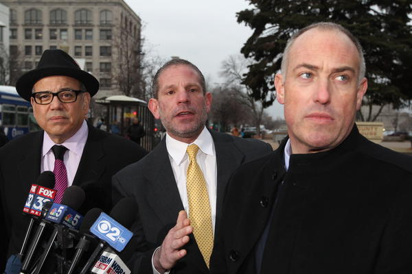 Attorneys for Drew Peterson's defense (left to right) Joe Lopez, David Peilet and Steve Greenberg hold a press conference outside the Will County Courthouse after Peterson was sentenced to 38 years in prison for the murder of Kathleen Savio.