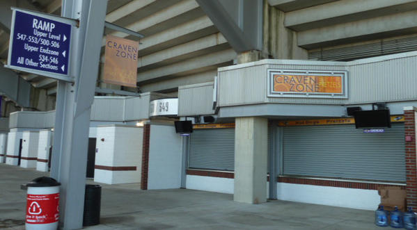 The upper concourse at M&T Bank Stadium before improvements.