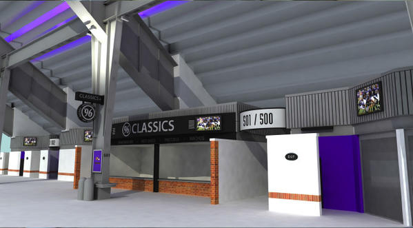 The renovations on the concourses will include support columns wrapped in brick with purple accent lighting.