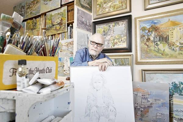 "Gene Allen, 94, an Oscar-winning art director, with a sketch he did of himself, bottom center, which was taken from a photo his father took of him at a young age. In 1964, Allen and Cecil Beaton won the Academy Award for color art direction in ""My Fair Lady."""