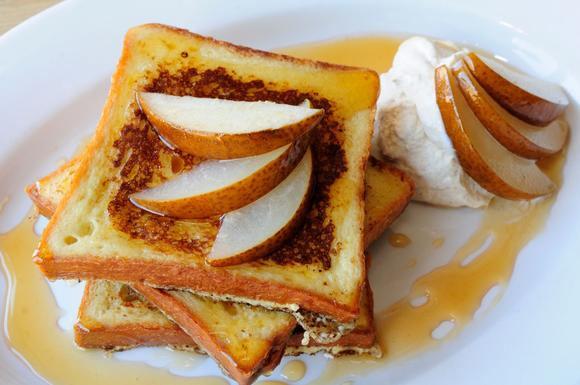 Poached pear brioche French toast from Nana in the Bridgeport neighborhood