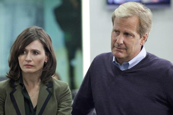 "Emily Mortimer and Jeff Daniels in ""The Newsroom,"" a show you watch to hate."