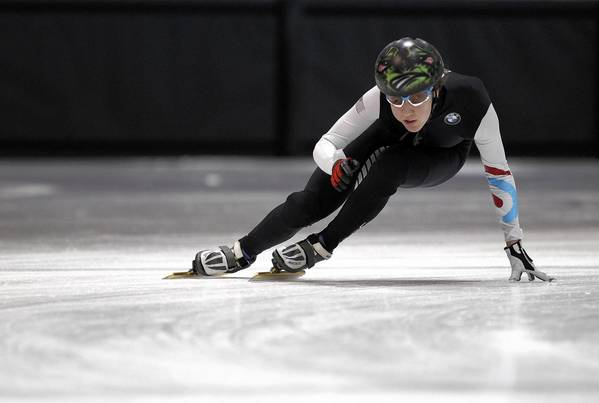 Salt Lake International speedskater Lana Gehring works on the ice during a morning training session at the Salt Lake City Sports Complex in Utah. Gehring, of Glenview, and other elite speedskaters left the U.S. Speedskating national program to join the Salt Lake International team. The group is the third faction in an already splintered short-track team.