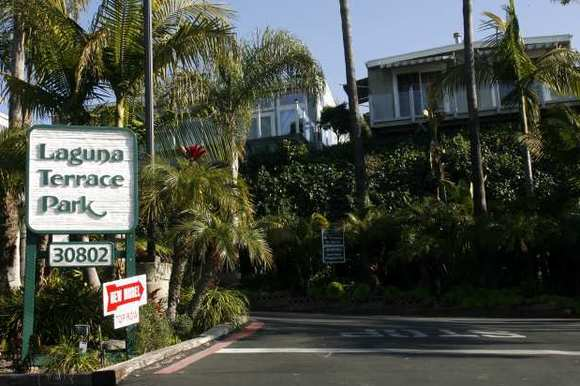 The entrance to Laguna Terrace mobile home park in Laguna Beach.