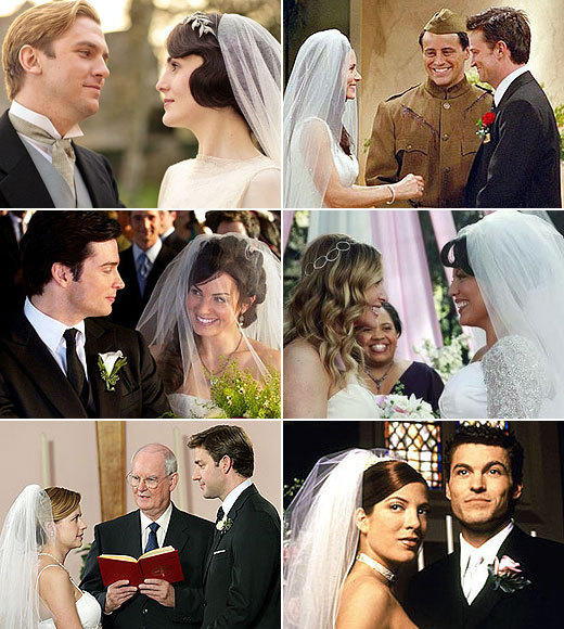 The best and worst TV weddings, from 'Downton Abbey' to 'The Office': Weddings are a staple of scripted TV -- there have been literally hundreds of them over the years between characters. But when theyre done right -- and sometimes when they go spectacularly wrong -- they make for great viewing.  Here are some of our favorite weddings, whether they ended well or badly, from over the years.