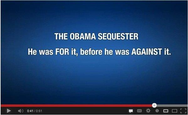 A screen grab from a Republican National Committee video released Thursday blaming President Obama for the across-the-board federal spending cuts due to start March 1.