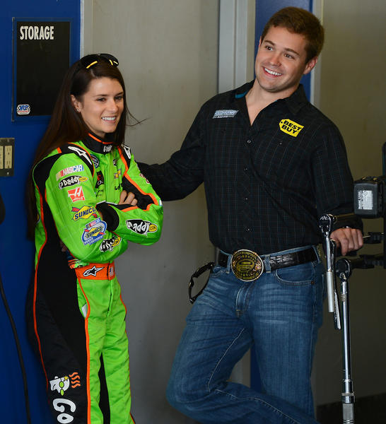 NASCAR drivers Danica Patrick and her boyfriend, Ricky Stenhouse Jr. spend time together in the Nationwide garage on Feb. 21.