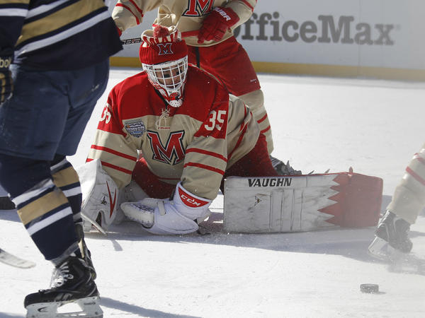 Miami goaltender Ryan McKay against Notre Dame in the Hockey City Classic played at Soldier Field on Sunday.