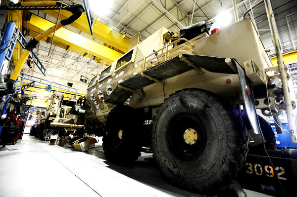 In this Herald-Mail file photo, a Buffalo Mine Resistant Ambush Protected vehicle is seen in a shop at Letterkenny Army Depot near Chambersburg, Pa. If the federal sequestration cuts take place as scheduled in one week, the depot would absorb spending reductions of more than $449 million, according to the U.S. Department of Defense.