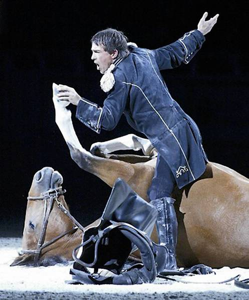 Tommie Turvey presents the comedy skit 'The Riding Instructor' during 'Theatre Equus' as part of Horse World Expo Feb. 21-24.