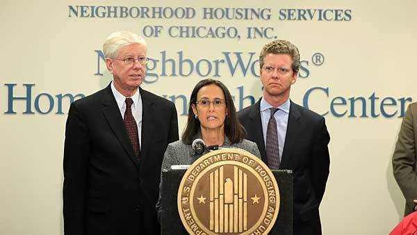 Illinois Attorney General Lisa Madigan  joined by Iowa Attorney General Tom Miller and HUD Secretary Shaun Donovan hold a press conference after holding round table discussion with homeowners who have been helped by the National Foreclosure  Settlement at Neighborhood Housing Services of Chicago, Wednesday, February 20, 2013.