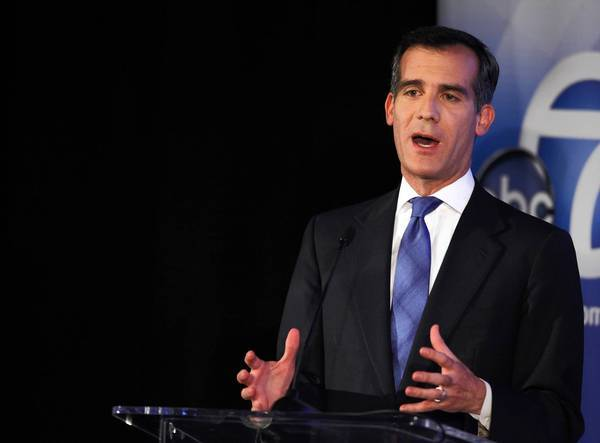 After city leaders set their position on pensions in 2010, Councilman Eric Garcetti took an unusual step: He visited workers and let them boo him. Above, Garcetti is shown participating in a mayoral debate this week.