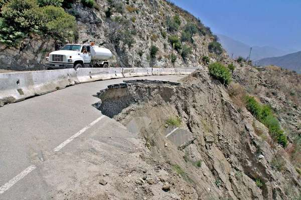 A section of Angeles Crest Highway that was washed out during rains in 2009.