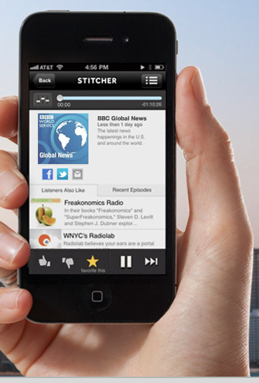 """Stitcher has helped me to rediscover the joy of the podcast. Whether on the commute, in the shower or doing chores, among the handful of podcasts with which I've become enamored, I find myself listening to 'Around the Horn' and 'PTI' on ESPN, 'Here's the Thing' from Alec Baldwin and WNYC, 'Wait, Wait Don't Tell Me' from WBEZ, and my all-time-favorite thanks entirely to my girlfriend, Slate's 'Culture Gabfest.'"""