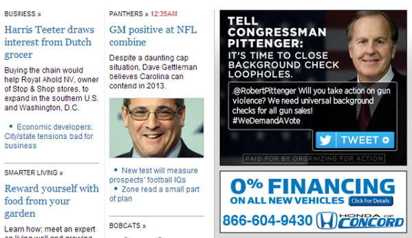 An example of OFA's ad campaign, as seen on the Charlotte Observer's website.