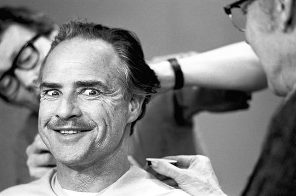 "Marlon Brando in a makeup session for ""The Godfather"" in New York, 1971."