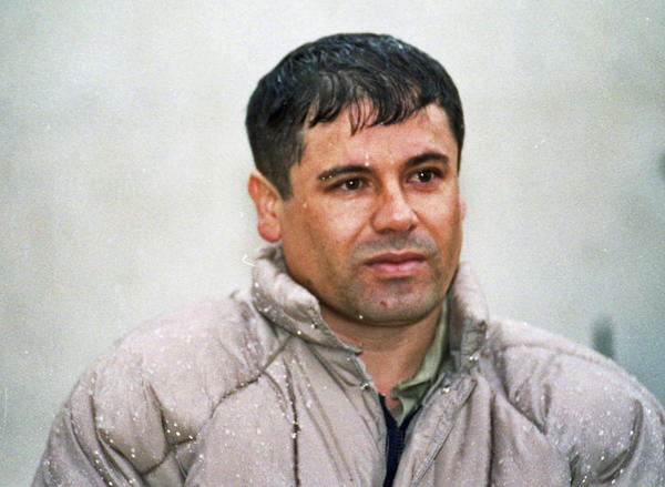 "In this 1993 photo, Joaquin ""Chapo"" Guzman is shown to the media at a prison near Mexico City. He escaped from captivity in 2001."