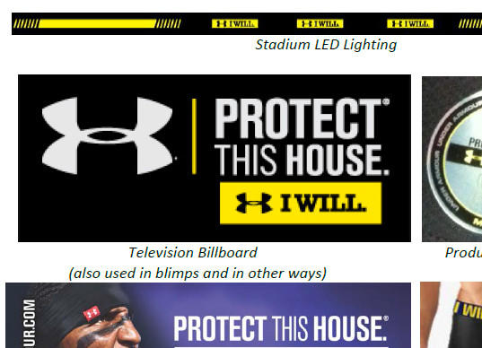 Examples of Under Armour branding from the Under Armour court filing against Nike.