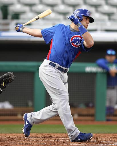 Chicago Cubs' Brett Jackson in an intrasquad game during Spring Training at HoHoKam Park in Mesa, Arizona.