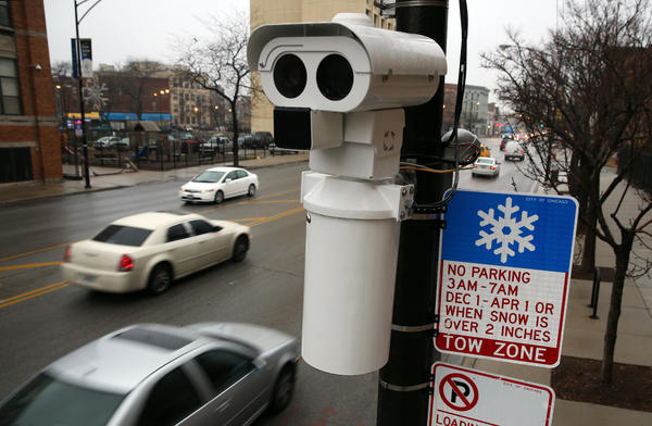 The speed camera on the 1400 block of West Division Street is one of four cameras the Office of Emergency Management and Communications is testing starting today. The systems will be operating for a month-long test to evaluate the equipment. No violations will be issued during the testing.
