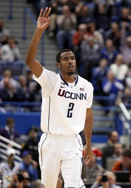 Feb 21, 2013; Hartford, CT, USA; Connecticut Huskies forward DeAndre Daniels (2) reacts after making a three point basket against the Cincinnati Bearcats during the second half at the XL Center. Mandatory Credit: David Butler II-USA TODAY Sports ORG XMIT: USATSI-107498