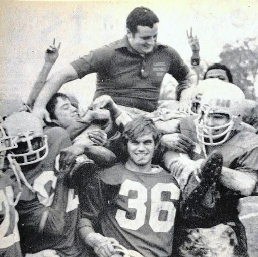 In a 1970 photo from the News Leader, coach Ron Ladue is carried off the field after a victory by his players.