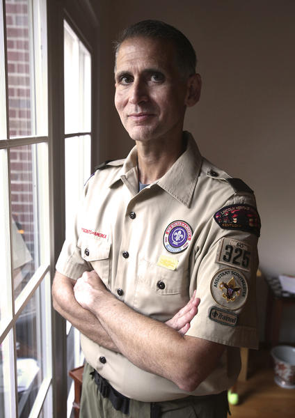 A 2012 photo shows then-Assistant Scoutmaster Greg Bourke in Kentucky. Bourke says he was forced to resign from the Boy Scouts because he is gay.