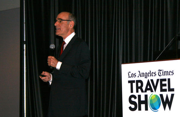 John Severini, the president and chief executive of the California Travel Assn., speaks at the L.A. Times Travel Show at the L.A. Convention Center.